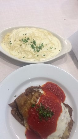 Nanuet, NY: Egg plant parm with side of angel hair Alfredo pasta. So Good!!