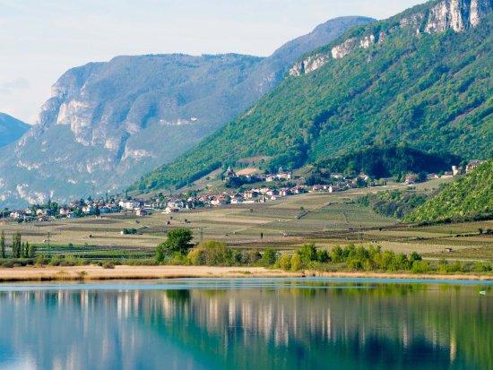 Blick vom Kalterer See Richtung Tramin
