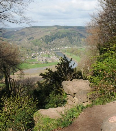 Offa's Dyke Path National Trail: Taken from the 'Devil's Pulpit' from England, overlooking Tintern Abbey and the River Wye.