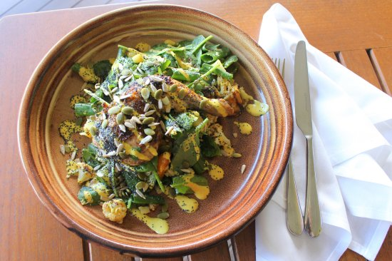 Grandchester, Australia: 'Homestead' pasture-fed chicken is brimming with goodness; a delicious bowlful of garden greens