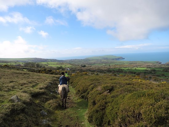 Piggery Poke Hostel: Horse riding in the Pembrokeshire countryside. Views from afar were spectacular!