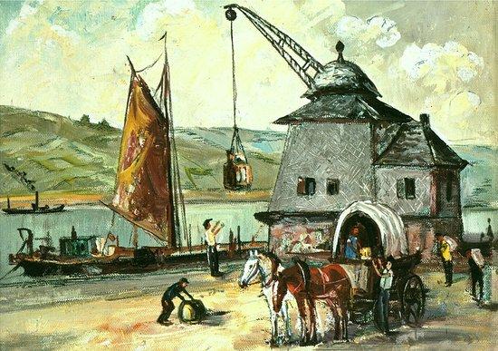 Bingen am Rhein, Germany: der alte Kran in Bingen um 1850 Ölgemälde von Willi Holtmann 1973