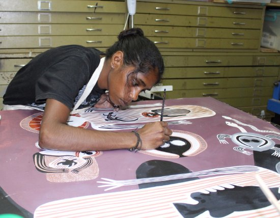 Derby, Australia: Artist Patrina Bradford at work