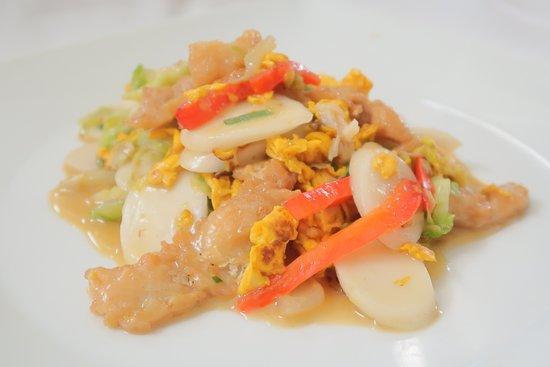 Ristorante LIN 林家小馆: Gnocchi di riso saltati con verdure e filetto di pesce.