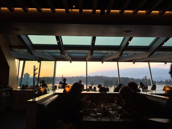 Blue Water Cafe: view inside restaurant. Find out when sunset is, and have dinner then. Gorgeous.