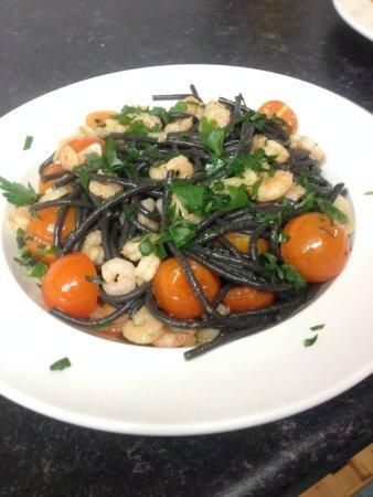 Belotti's Delicatessen & Coffee House: Black squid ink spaghetti with prawns