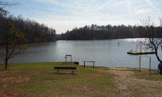 Auburn, AL: la vista del lago del parque, en él pueden nadar, navegar en kayak o bote.