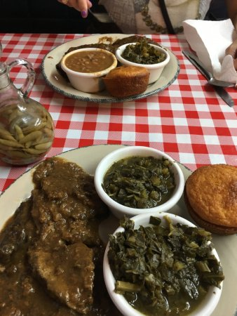 Jacksonville, TX: Smothered liver and onions, greens and cornbread.