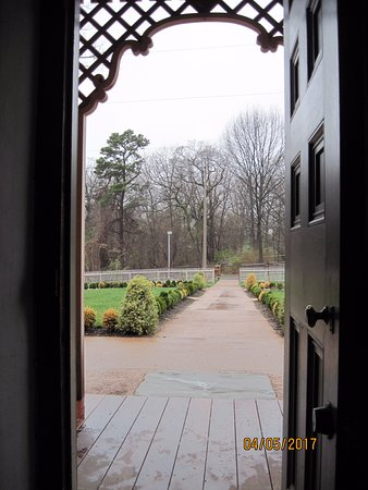 Newly restored formal garden looking out the front door of the ...