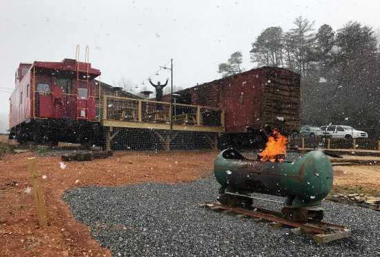 Fairview, NC: The boxcar's first snow.
