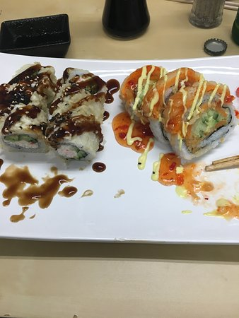 Mission, Canada: Left: Deep Fried Cali Roll / Right: Yam Tempura Roll