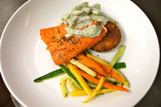 Plymouth, MI: Fresh Salmon with a cool cumber and dill salad