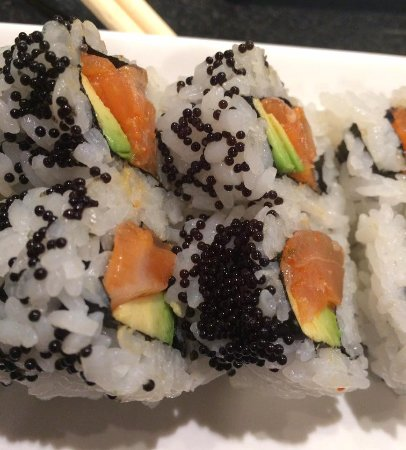 The Woodlands, TX: Spicy salmon roll with tobiko.