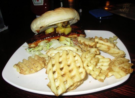 Lynchburg, VA: Blackened Mahi Pan-seared Mahi-Mahi topped with grilled pineapple, teriyaki sauce, lettuce & tom