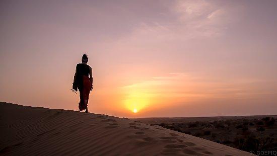 Dechu, India: Jeep Safari with views of the setting sun