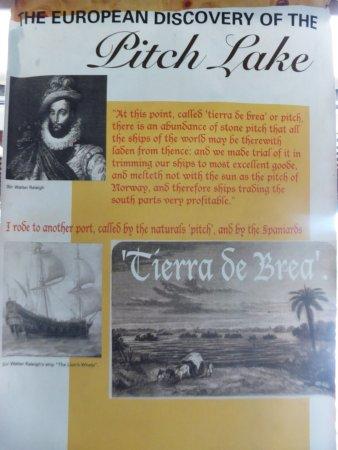 La Brea Pitch Lake: an information board in the museum