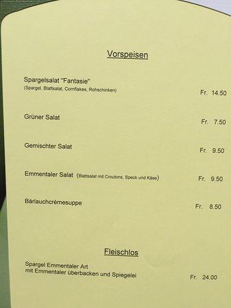 Sumiswald, Suisse : Menü / Speisekarte