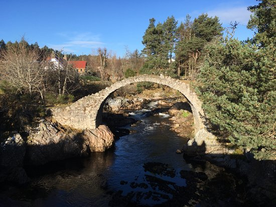 Carrbridge Hotel: This lovely bridge 'ruin' is just to the side of the hotel and a petrol station to the right.