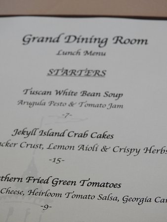 Grand Dining Room: Menu