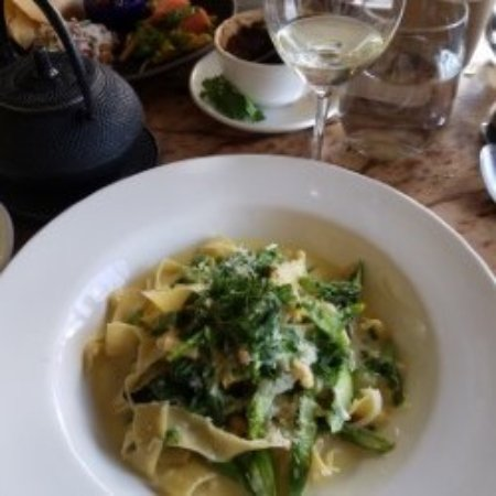 Greens Restaurant: Pappardelle pasta with asparagus, peas, spinach, onions, pine nuts and lemon butter,