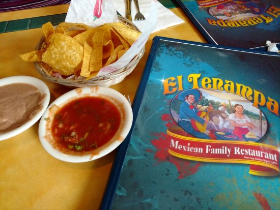 Meridian, ID: Chips and two types of Salsa, front of their menu.