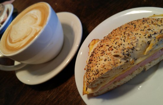 Broomfield, CO: vanilla latte and half of a bagel sandwich