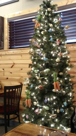 Corunna, MI: Christmas tree up with Easter decorations on it. Nothing labeled vegetarian or vegan.