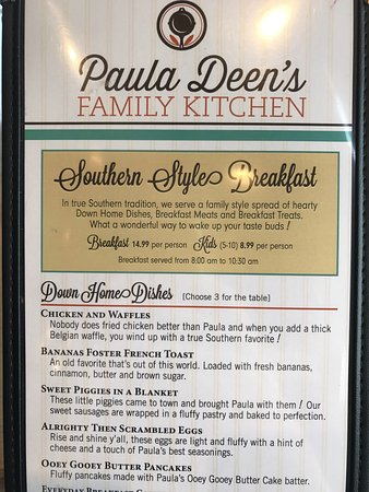 Lunch Menu For Paula Deen S Restaurant Pigeon Forge