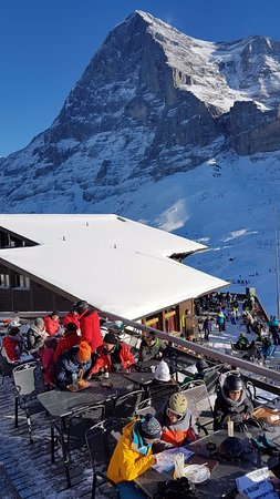 Jungfrau Region, Zwitserland: Eigernordwall restaurant looking to the spectacular Eiger North Wall