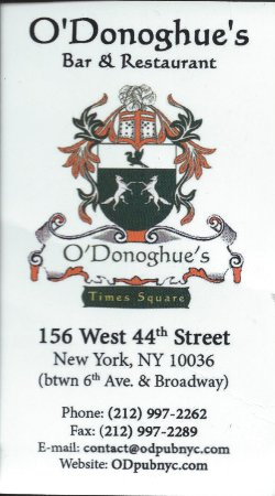 O'Donoghue's Pub and Restaurant: Their business card