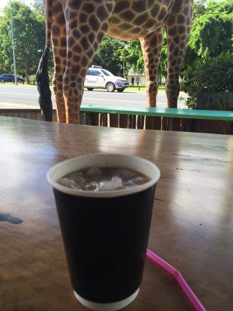 Bororen, Australia: Perfekt für einen Stop zu Füßen der Giraffe...