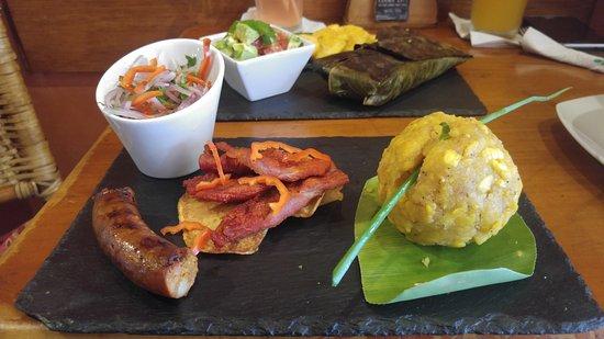 Karma Cafe: Local food. Tacacho con cecina, chorizo tarapotino y su salsa criolla.