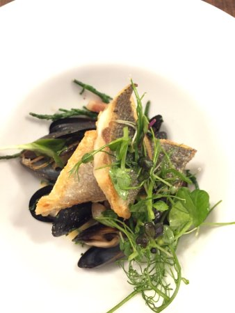 Hensol, UK: Lovely dinner in Vale Grill. Fab pan fried sea bass & mussels...