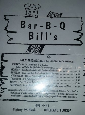 Chiefland, FL: I only took this one picture of the Menu. Didn't think about Trip Advisor at the time