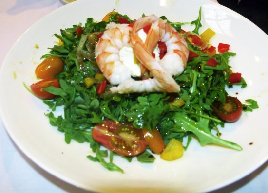 Wrentham, MA: Arugula salad with shrimp.