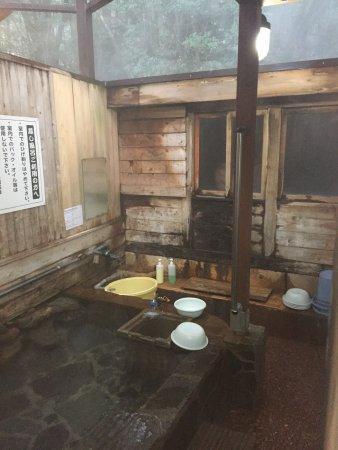 Ebino, Japan: 蒸し風呂は奥の部屋です、手前は水風呂、桶に水を汲んで入るのがマナーのようです