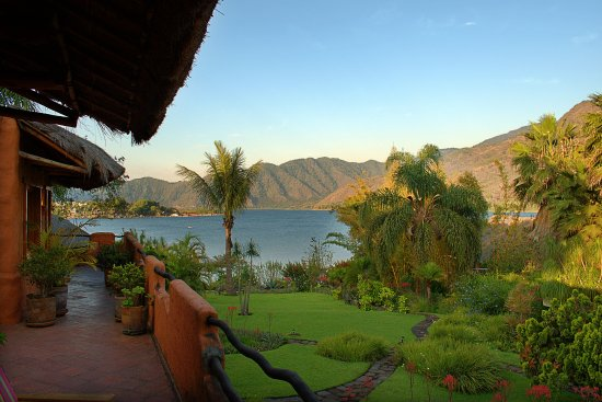 "Santiago Atitlan, กัวเตมาลา: The ""obstructed"" view from our balcony. Yes, the grounds are that gorgeous!"