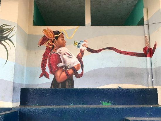 San Juan la Laguna, Guatemala: Mural painted by jovenarte