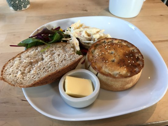 Village Green: Beef and horseradish pie, with coleslaw and bread, wonderful.