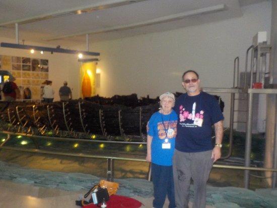 Ginosar, Israel: Sue and I pose at the Galilee boat