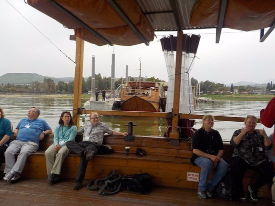 "Ginosar, Israel: Our tour group sailed the ""Jesus boat"" (hull designed as the artifact in the museum)"