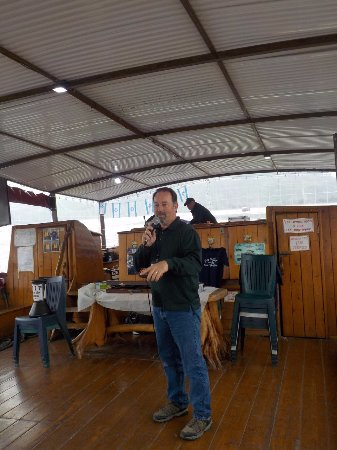 Ginosar, Israel: Tour group pastor Dale (Da-El) preaching on boat