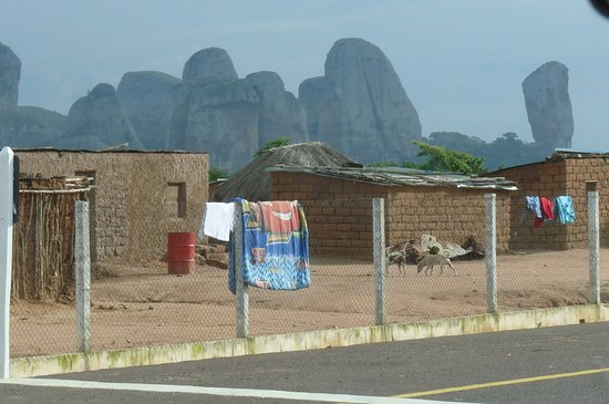 Malanje, Angola: houses with Pedras Negras in background