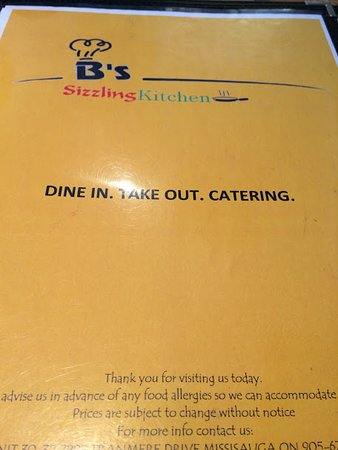 Menu - Picture of B's Sizzling Kitchen