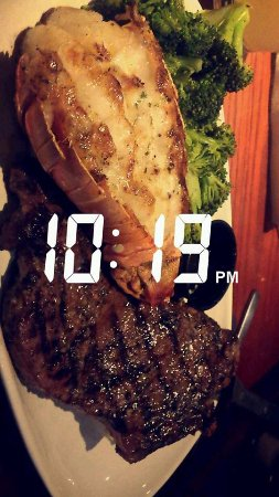 Red Lobster: sister's meal (steak and lobster with side salad)