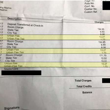 Bay Harbor Islands, FL: Bill with Urban Fee and Taxes highlighted