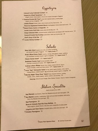 Bay Harbor Islands, FL: Palm Restaurant Menu (located next to hotel)