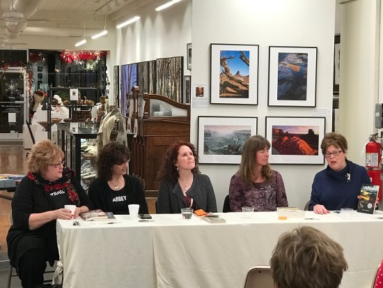 A book event, a panel of successful mystery writers meets at the gallery.