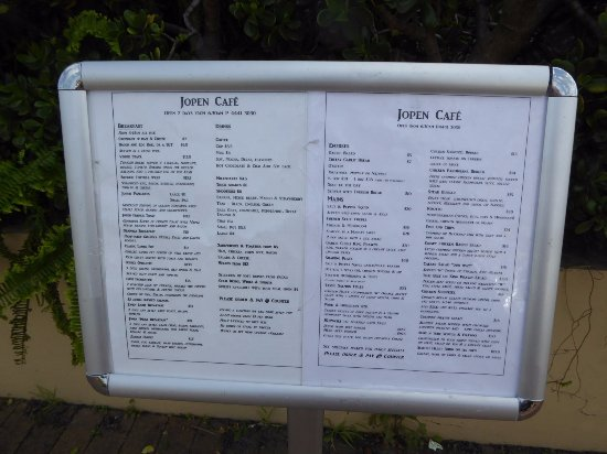 Menu outside Jopen Cafe, Sussex Inlet