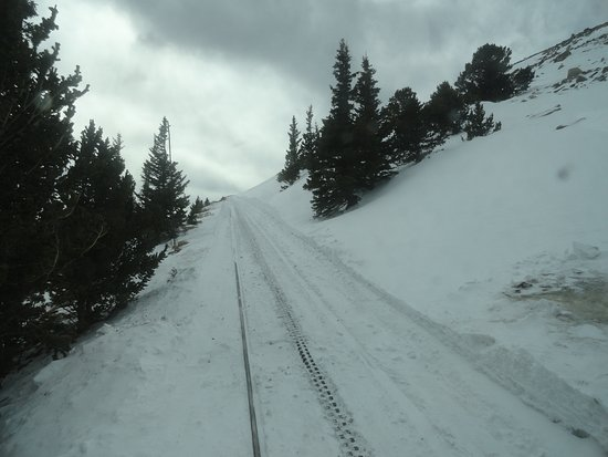 Manitou Springs, CO: Snowdrift over the tracks. Our ascent ends here at 11,500 ft.